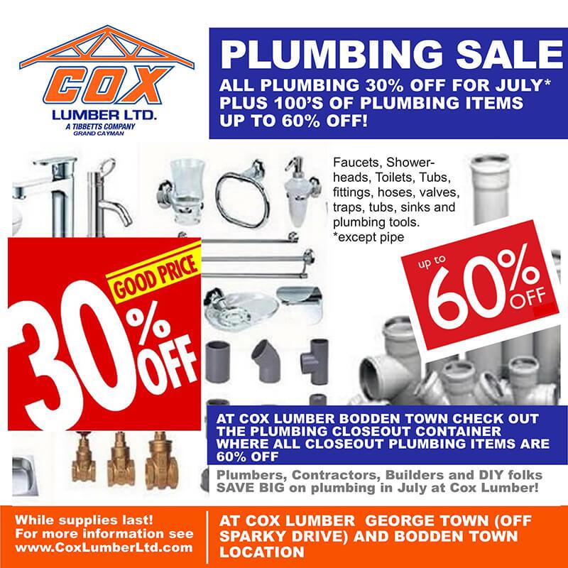 Cox Lumber Plumbing Sale 2021
